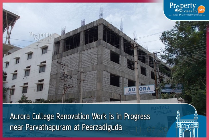 Aurora College Renovation Work Is in Progress near Parvathapuram at Peerzadiguda