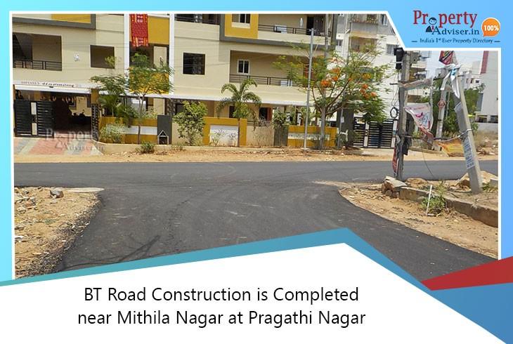 bt-road-construction-is-completed-near-mithila-nagar-at-pragathi-nagar