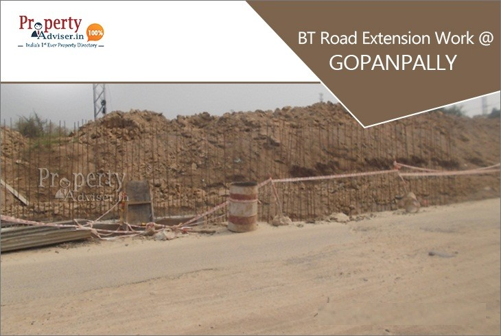 BT Road Extension Work is in Process Near Properties in Gopanpally