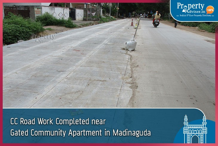 Laying of CC Road Completed Near Gated Community Apartment in Madinaguda
