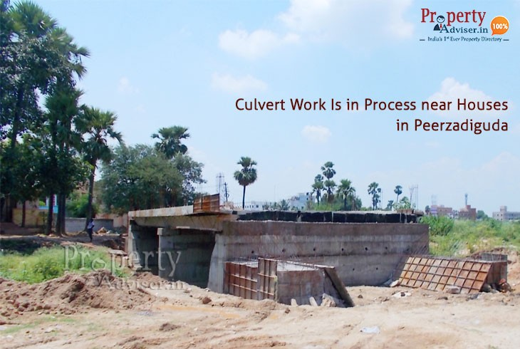 Construction Of Culvert Is In Process Near Houses In Peerzadiguda