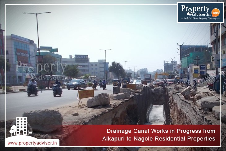 Drainage Canal Works in Progress from Alkapuri to Nagole Properties
