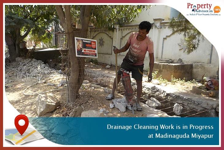 Drainage Cleaning Work Is in Progress at Madinaguda, Miyapur