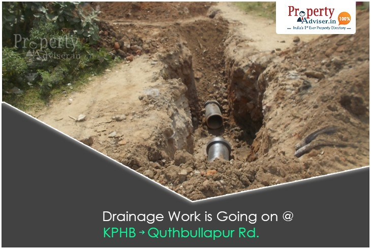 Underground Drainage Work in Process From KPHB-Quthbullapur Road