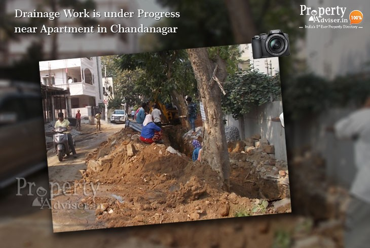 Drainage Work is under Progress near Apartment in Chandanagar