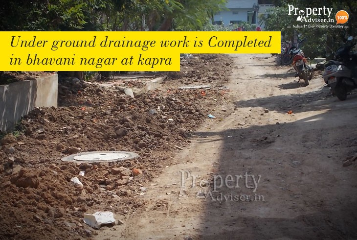 Drainage Works Completed near Apartment in Bhavani Nagar at Kapra