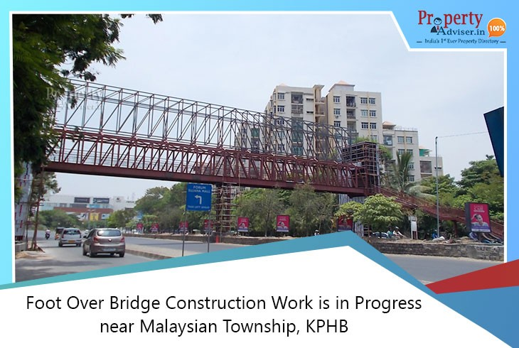 Foot over Bridge Construction Work is in Progress near Malaysian Township, KPHB