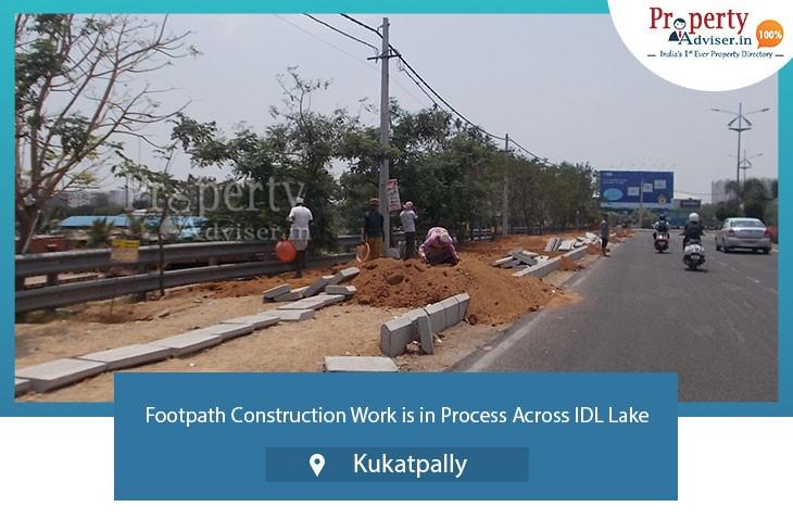footpath-construction-work-in-process-across-idl-lake-kukatpally