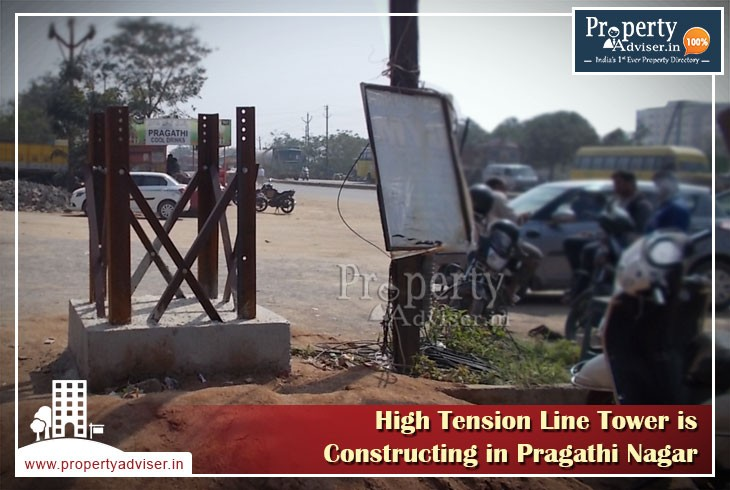 New High Tension Line tower work is in progress at Pragathi Nagar