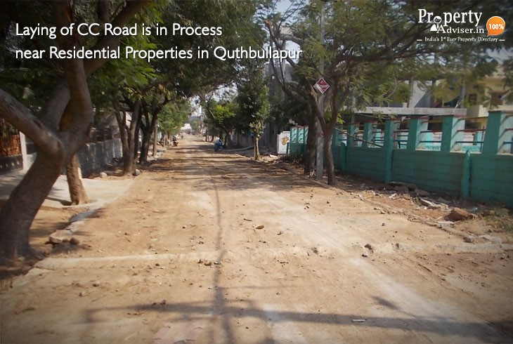 Laying of CC Road is in Process near Houses in Quthbullapur
