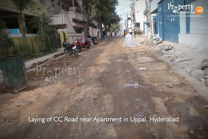 Laying of CC Road is under process near Apartment in Uppal