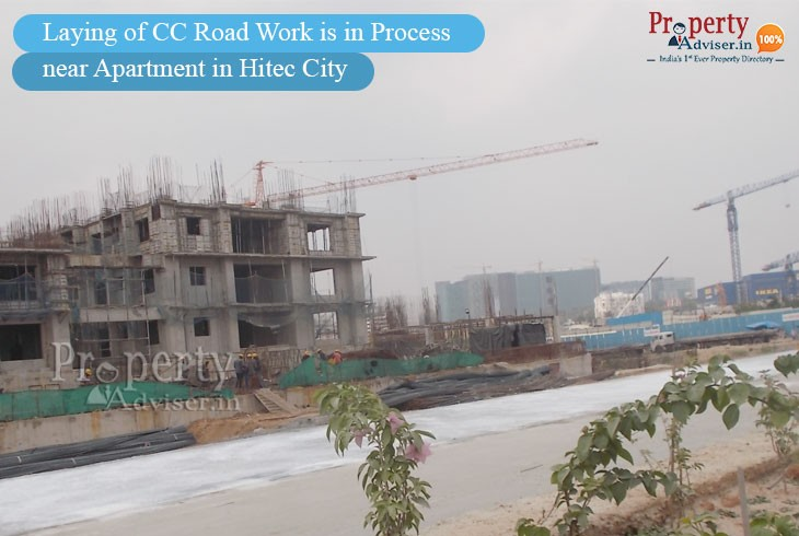 Laying of CC Road is in Process near Residential Apartments in Hitec City