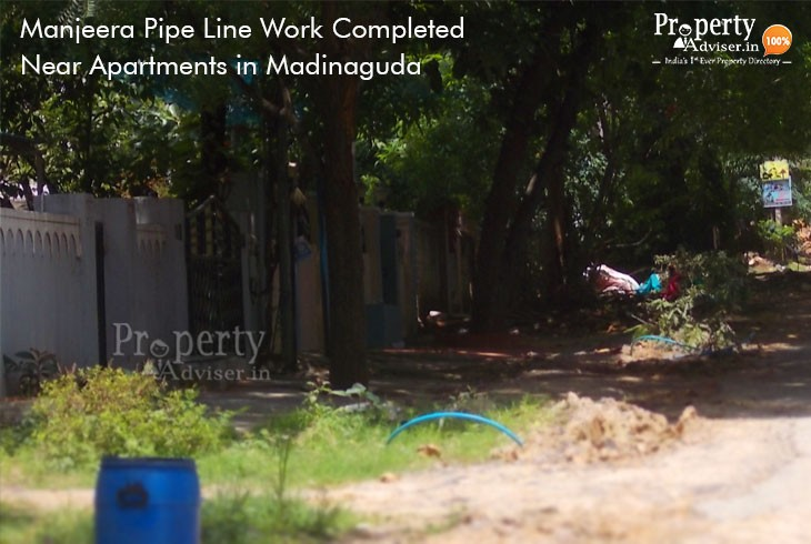 Manjeera Pipe Line Work Completed Near Apartments in Madinaguda