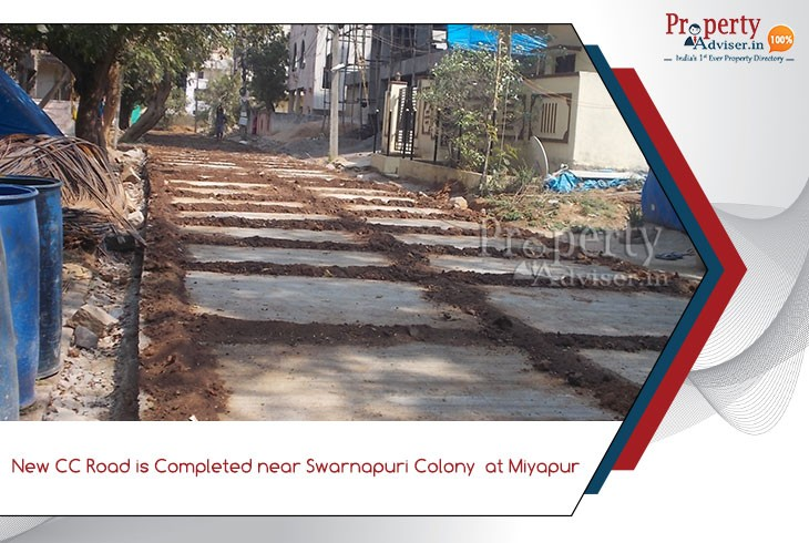 new-cc-road-completed-near-swarnapuri-colony-at-miyapur