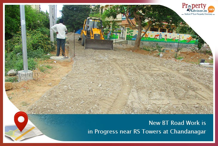 New BT Road Work Is in Progress near Apartment at Chandanagar