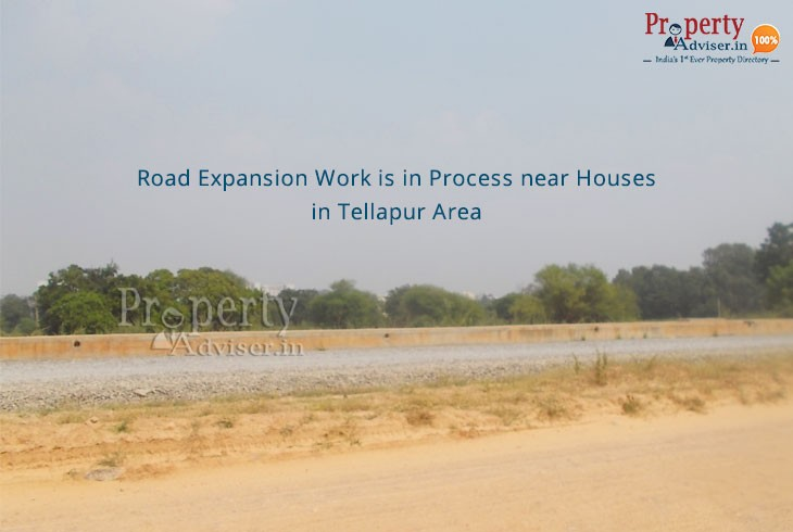 Road Expansion Work Is In Process Near Houses In Tellapur Area