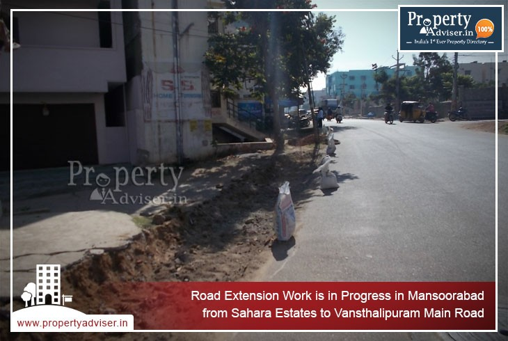 Road Extension Works near Apartments in Mansoorabad to Vansthalipuram