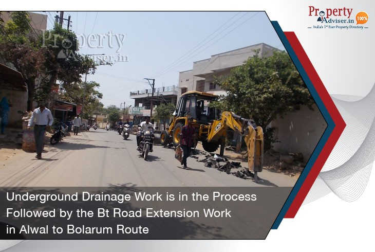 underground-drainage-work-process-and-bt-road-extension-in-alwal-to-bolarum-route