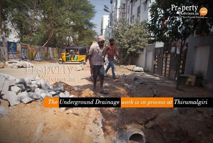 Underground Drainage Work in Process near Houses in Tirumalgiri