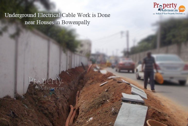 Installation of Underground Electrical Cable near Residential Homes in Bowenpally