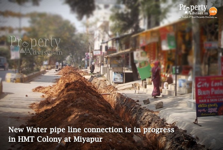 Water pipe line connection is in progress in HMT Colony at Miyapur