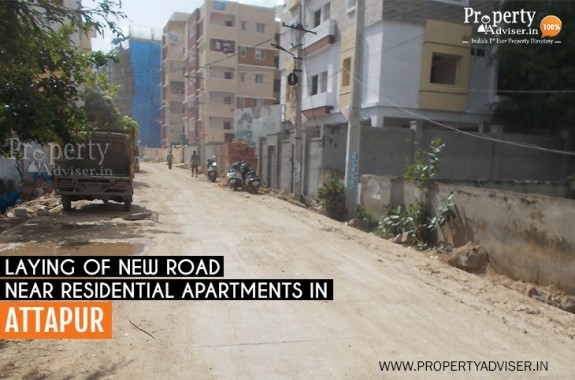 Laying of New Road near Residential Apartments in Attapur