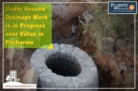Under Ground Drainage Work is in Progress near villas in Pocharam