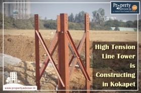 New High Tension Line Tower Work Is In Progress at Kokapet