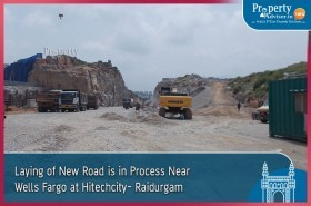 Laying of New Road is in Process near Wells Fargo in Hitech City