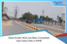 Road Divider Work Completed Near Gokul Flats In Kphb Colony