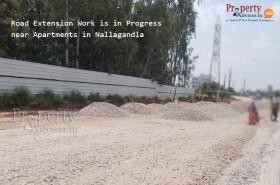 Road Extension Work is in Progress near Apartments in Nallagandla