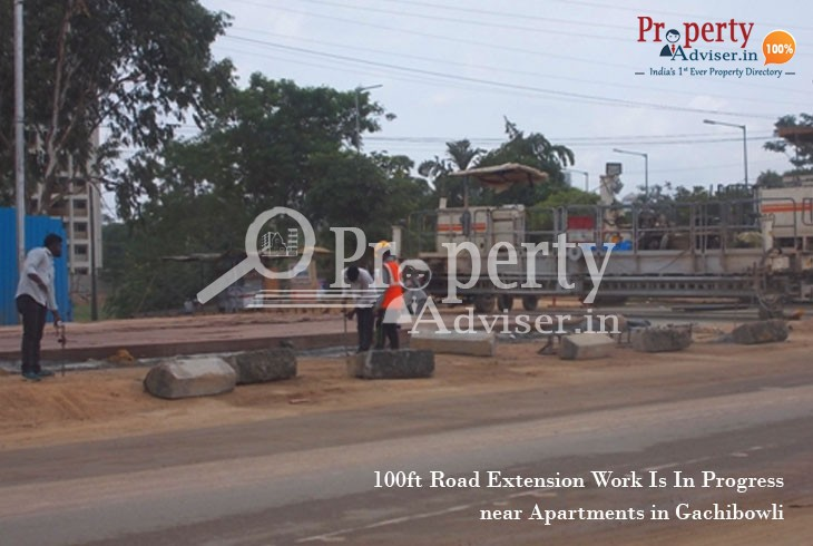 100ft Road Extension Work Is In Progress near Residential Apartments in Gachibowli