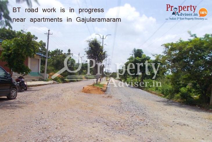 BT Road Work is in Progress Near Gajularamaram Apartments