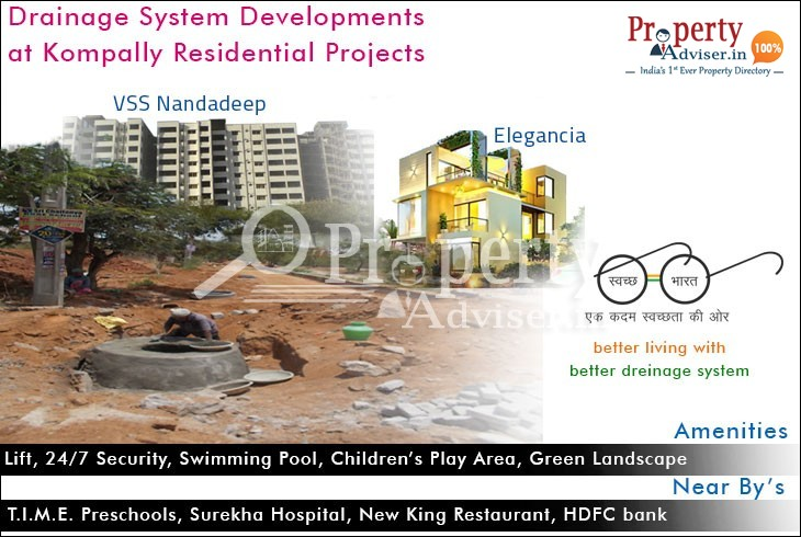 Drainage System Developments are Going on at Kompally Residential Projects