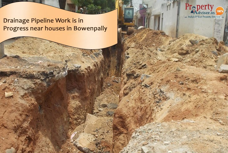 Drainage Pipeline Work is in Progress near houses in Bowenpally