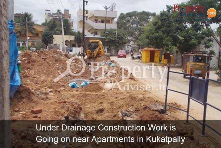 Underground Drainage Work near kukatpally Residential Apartments