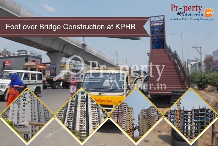 Foot over Bridge Construction is in Progress near Apartments at KPHB