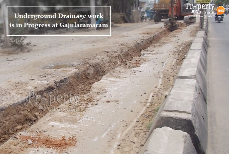 Laying of Drainage Pipeline works near Houses in Gajularamaram