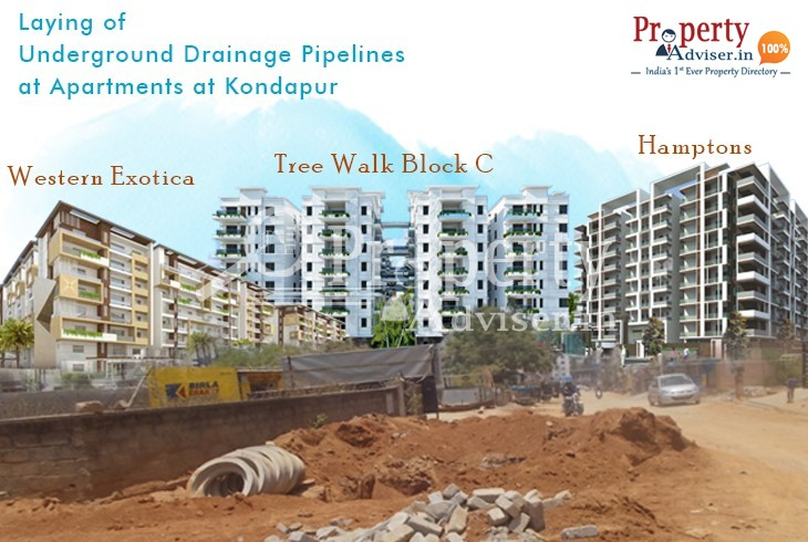 Laying of Underground Drainage Pipelines near Apartments at Kondapur