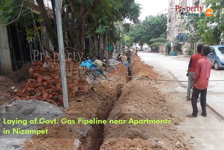 Laying of Govt Gas Pipeline under process near Apartments in Nizampet
