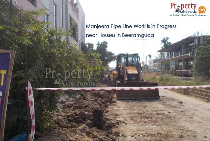 Laying of Manjeera Pipe Line near Houses in Beeramguda