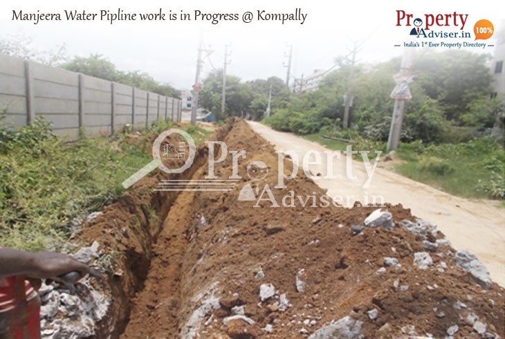 Manjeera Water Pipeline Work is in Progress near New Properties in Kompally