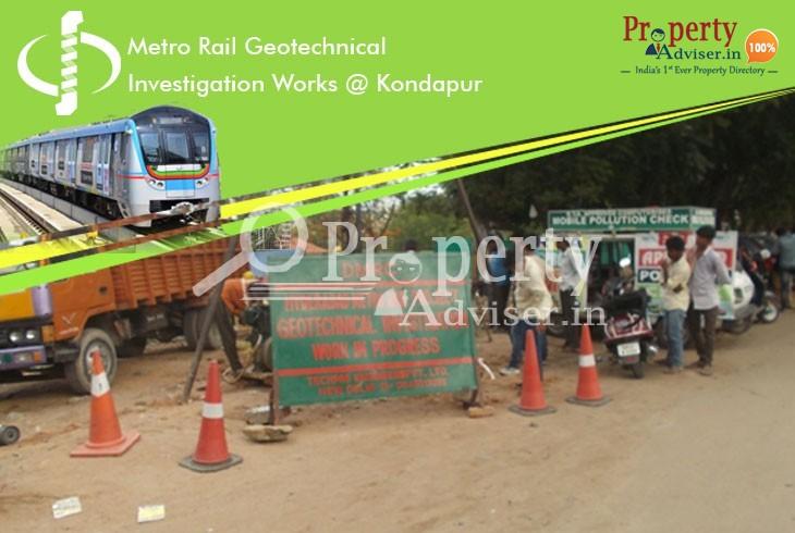 Metro Rail Geotechnical Investigation Works near Properties in Kondapur