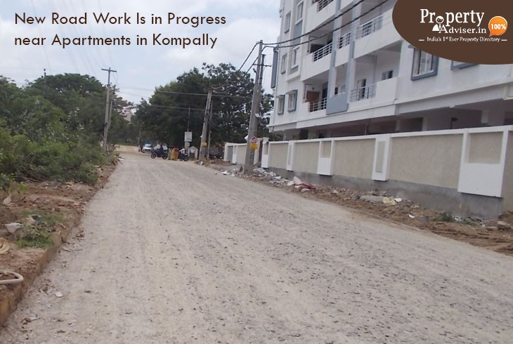 New Road Work Is in Progress near Apartments in Kompally