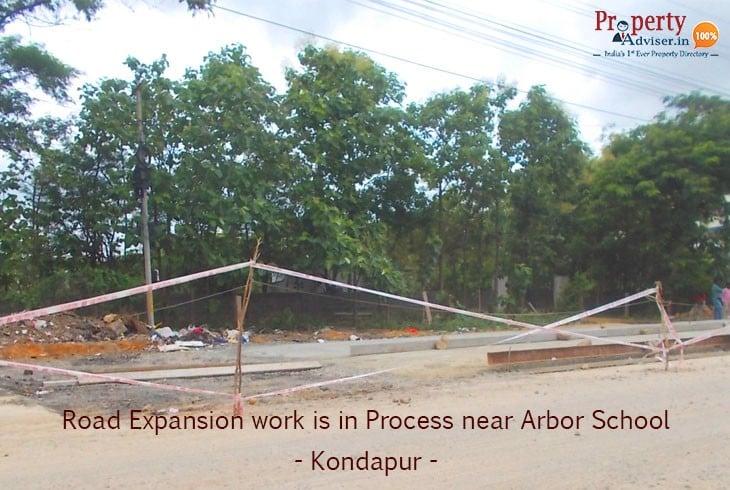Road Expansion Work Near Arbor School At Kondapur