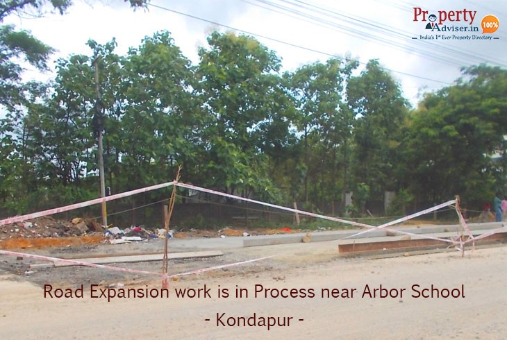 Road Expansion Work Near Arbor School At Kondapur