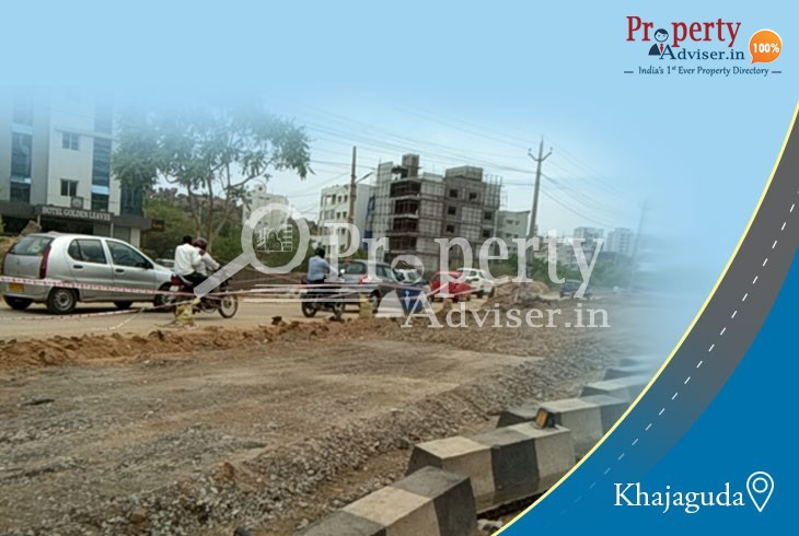 Road Extension Work is in Progress near Residential Apartments at Khajaguda