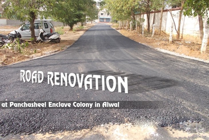 Road Renovation is in process near houses at Panchasheel Enclave colony in Alwal