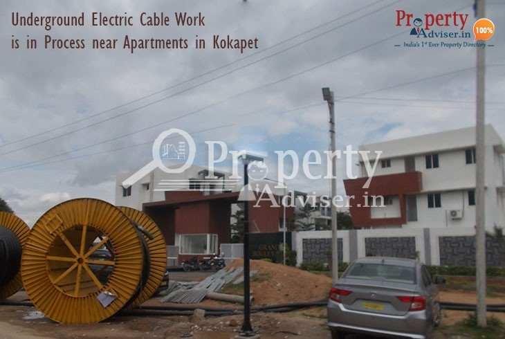 Underground Cable work near Kokapet Residential Apartments