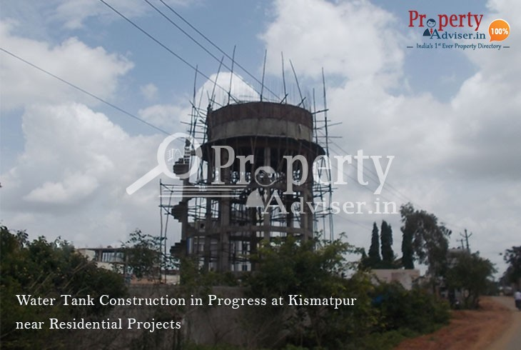 Under Construction Water Tank Near Kismatpur Residential Properties